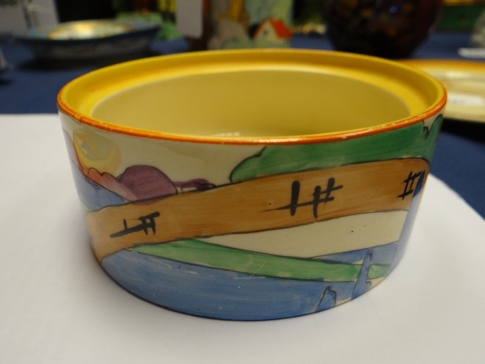 THREE CLARICE CLIFF ITEMS comprising 'Forest Glen' preserve jar & cover, 7.5cms high; 'Coral Firs' - Image 36 of 40