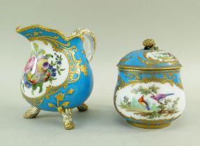 SEVRES-STYLE PORCELAIN BLEU CELESTE MILK JUG & CHOCOLATE CUP, 19th Century or later, jug decorated