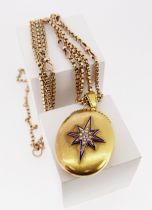 18CT GOLD LOCKET ON 9CT GOLD CHAIN, the locket decorated with enamel, seed pearl and diamond (0.
