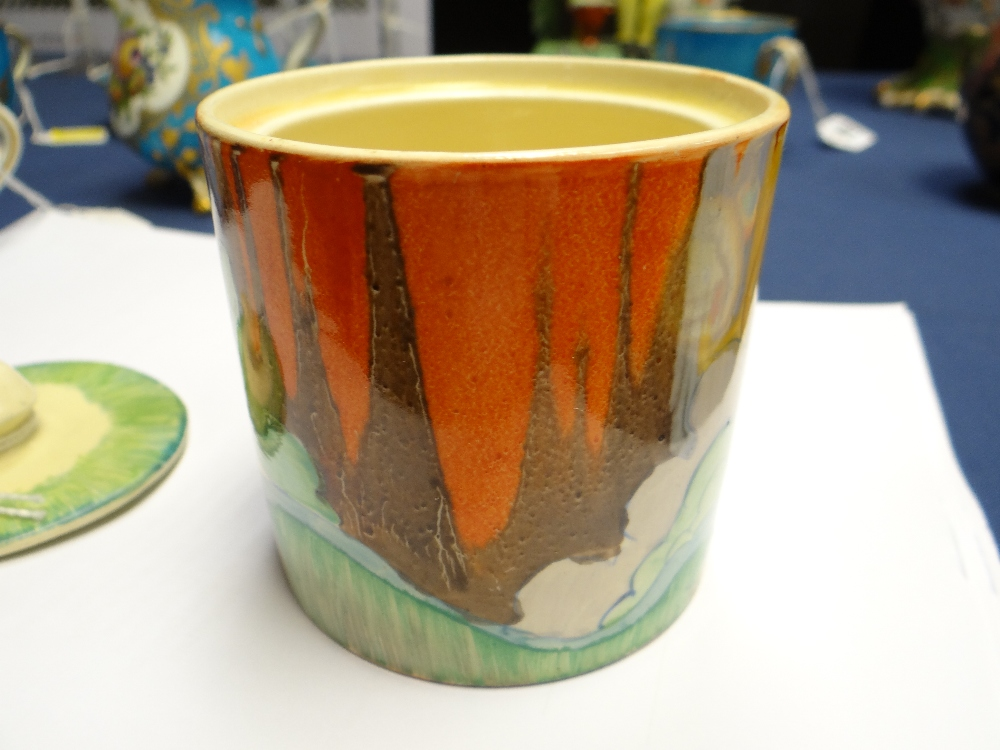 THREE CLARICE CLIFF ITEMS comprising 'Forest Glen' preserve jar & cover, 7.5cms high; 'Coral Firs' - Image 17 of 40