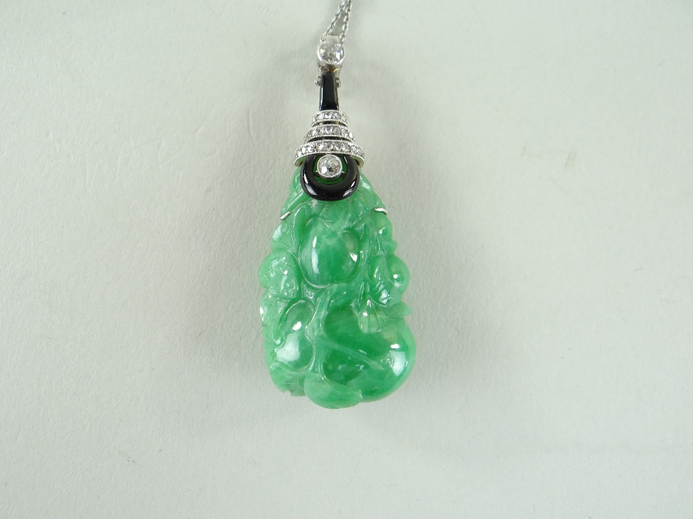 CARVED CHINESE JADEITE LEAFY GOURD PENDANT, later mounted with three rows of tiny diamonds and two - Image 16 of 16