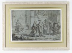 18TH CENTURY VENETIAN SCHOOL brown ink and grey wash on tinted paper - Classical figures