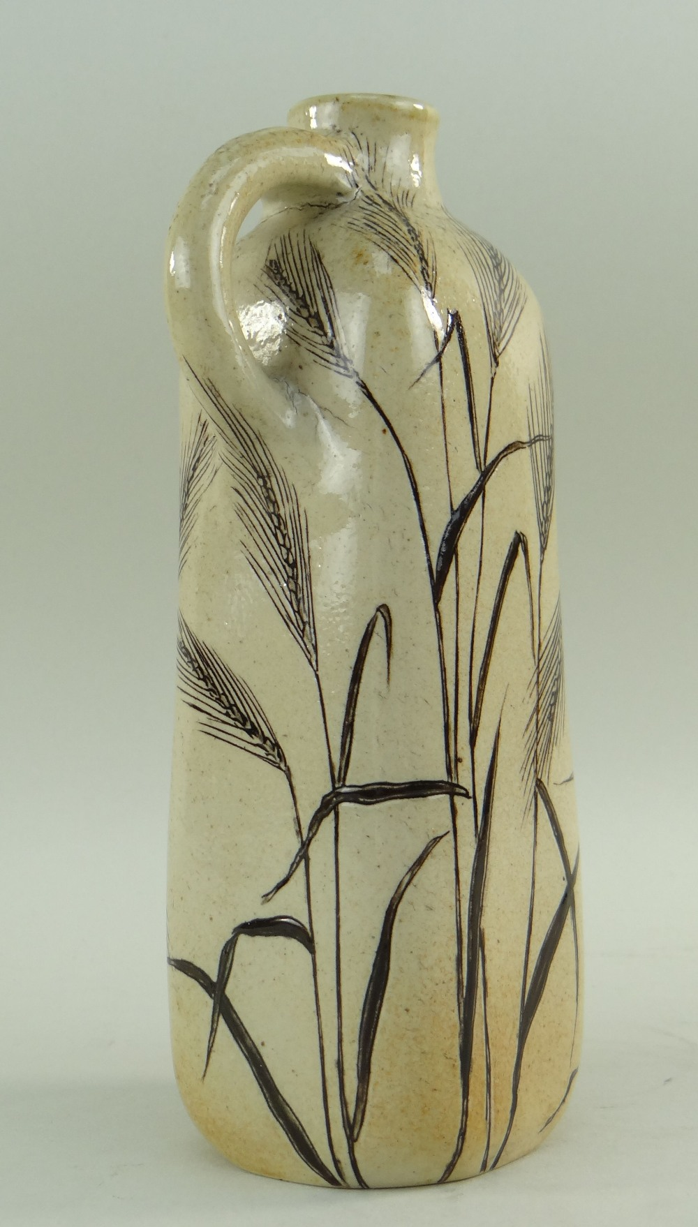 MARTIN BROTHERS STONEWARE FLASK, of square section with loop handle to shoulder, decorated all - Image 4 of 5
