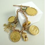 9CT GOLD CURB LINK T-BAR ALBERT CHAIN having various attachments including three gold sovereigns