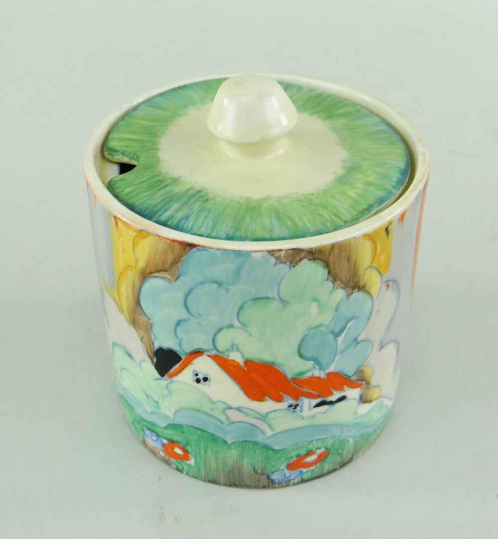 THREE CLARICE CLIFF ITEMS comprising 'Forest Glen' preserve jar & cover, 7.5cms high; 'Coral Firs' - Image 8 of 40