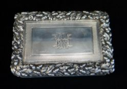 FINE VICTORIAN SILVER TABLE SNUFF BOX, London 1842 by Edward Edwards II, with engine turned sides,