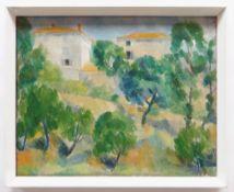 LEONARD WILLIAM JOSEPH McCOMB RA (British, 1930-2018) oil on canvas - Tuscan landscape with trees to