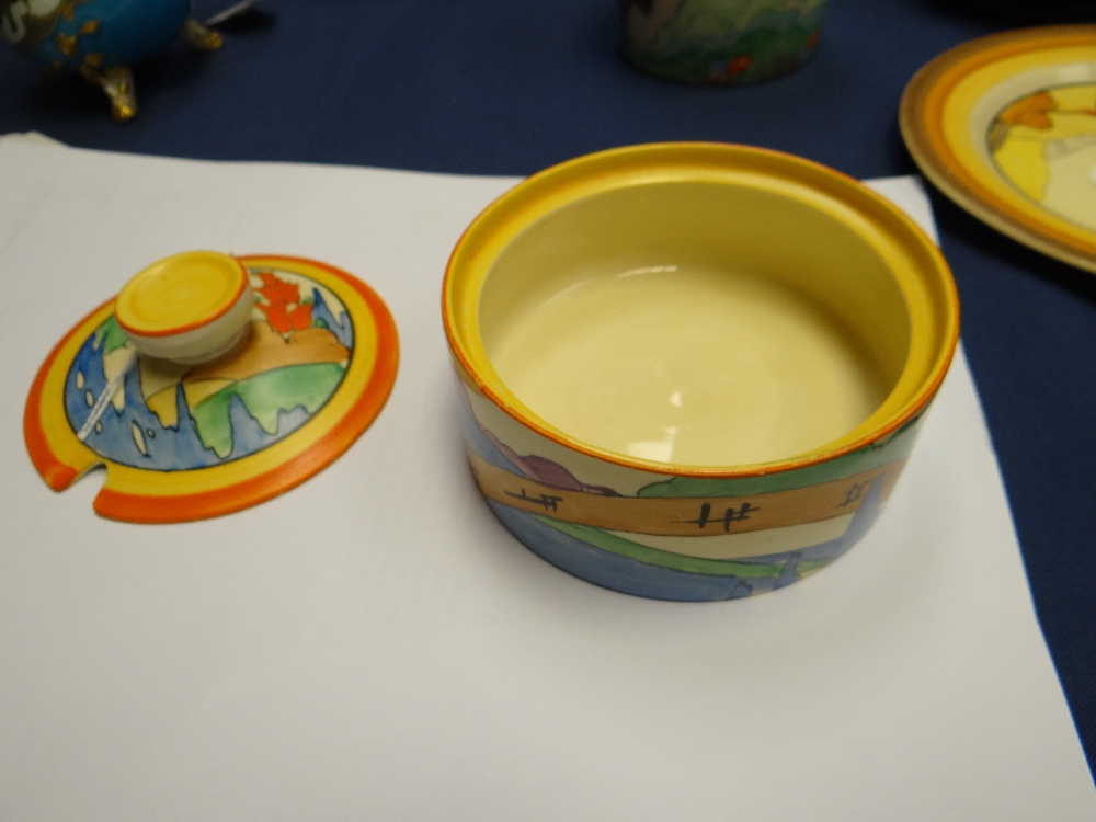 THREE CLARICE CLIFF ITEMS comprising 'Forest Glen' preserve jar & cover, 7.5cms high; 'Coral Firs' - Image 31 of 40