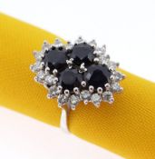 18CT WHITE GOLD SAPPHIRE & DIAMOND CLUSTER RING, the four central sapphires (5 x 5mms each