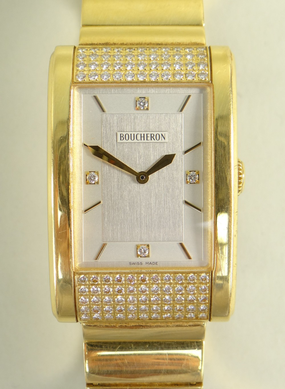 BOUCHERON 18K GOLD & DIAMOND GENTLEMAN'S 'REFLET' BRACELET WATCH, the signed, rectangular two-tone - Image 2 of 3