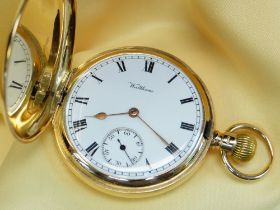 WALTHAM 18CT GOLD FULL HUNTER POCKET WATCH, the white enamel dial having Roman numeral chapter