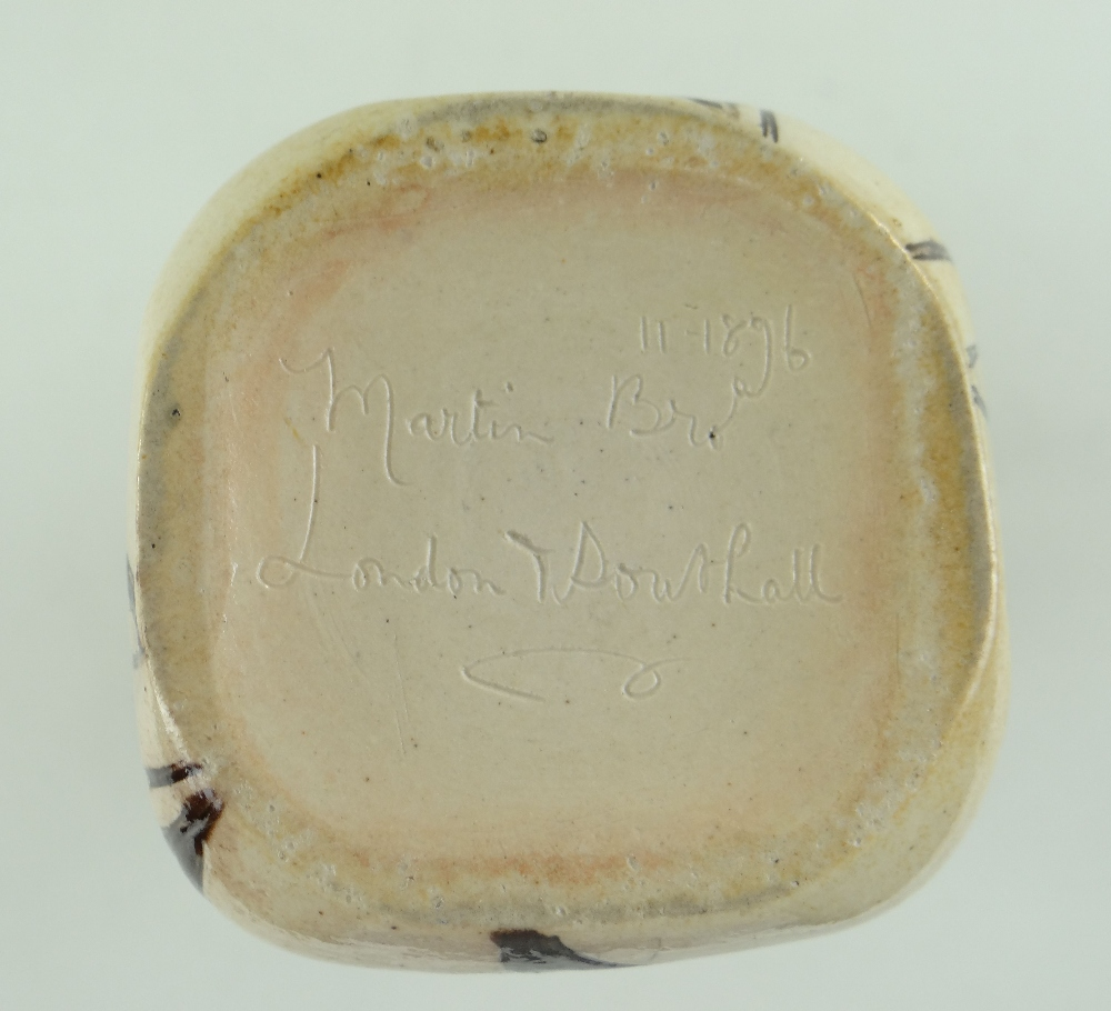 MARTIN BROTHERS STONEWARE FLASK, of square section with loop handle to shoulder, decorated all - Image 5 of 5