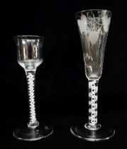 TWO GEORGIAN GLASSES, comprising an ale glass with flute moulded funnel bowl engraved with hops