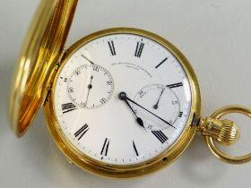 FINE VICTORIAN SHEFFIELD GOLDSMITHS CO. 18CT GOLD FULL HUNTER POCKET WATCH, by Victor Kullberg