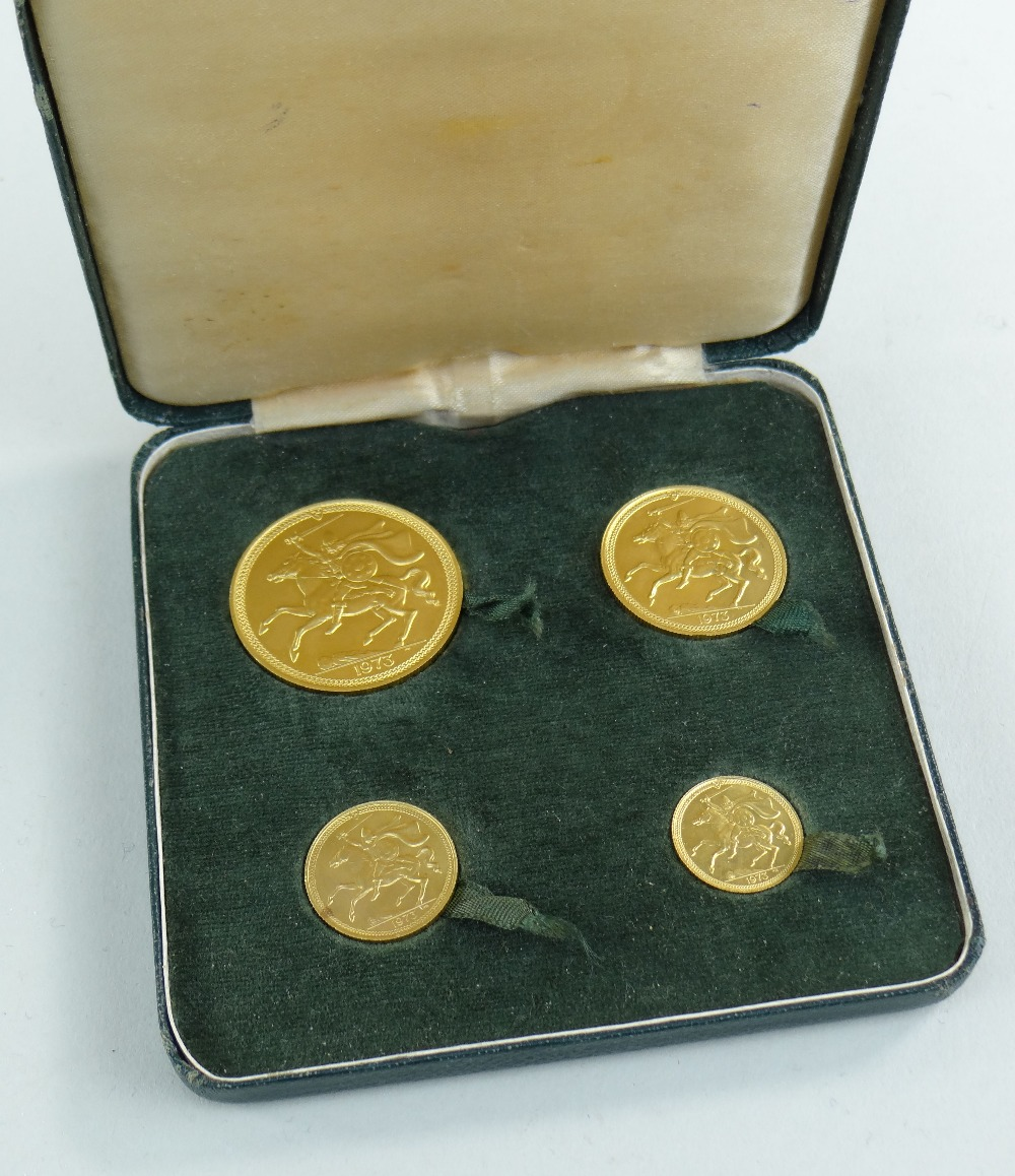 POBJOY MINT ISLE OF MAN 1973 GOLD FOUR COIN SOVEREIGN SET comprising £5 coin, £2 coin, sovereign and - Image 4 of 4