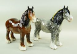 TWO BESWICK 818 SHIRE HORSES, rocking horse grey and brown, both early unmarked models with holes to