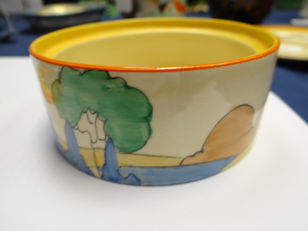 THREE CLARICE CLIFF ITEMS comprising 'Forest Glen' preserve jar & cover, 7.5cms high; 'Coral Firs' - Image 38 of 40