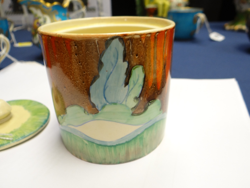 THREE CLARICE CLIFF ITEMS comprising 'Forest Glen' preserve jar & cover, 7.5cms high; 'Coral Firs' - Image 16 of 40