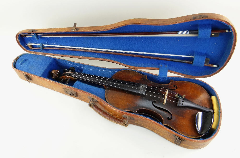 KLINGENTHAL SCHOOL VIOLIN, circa late 18th/early 19th Century, LOB 359mms, two-piece back of faint - Image 8 of 9