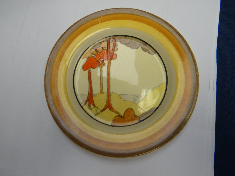 THREE CLARICE CLIFF ITEMS comprising 'Forest Glen' preserve jar & cover, 7.5cms high; 'Coral Firs' - Image 20 of 40