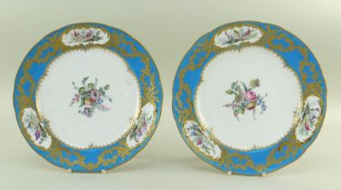 TWO SEVRES-STYLE BLEU CELESTE PORCELAIN PLATES, 19th Century, centres painted with sprays of flowers