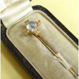 CASED MOONSTONE & DIAMOND STICK PIN, yellow metal set, in original vintage box marked 'Mrs.