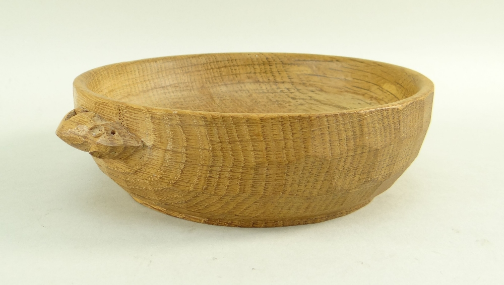 ROBERT 'MOUSEMAN' THOMPSON OAK NUT BOWL, adzed outside with 'signature' mouse carved in relief,