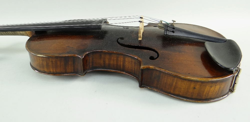 KLINGENTHAL SCHOOL VIOLIN, circa late 18th/early 19th Century, LOB 359mms, two-piece back of faint - Image 4 of 9