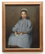 LATE 19TH CENTURY FRENCH SCHOOL oil on canvas - portrait of a girl in white cap and blue frock,