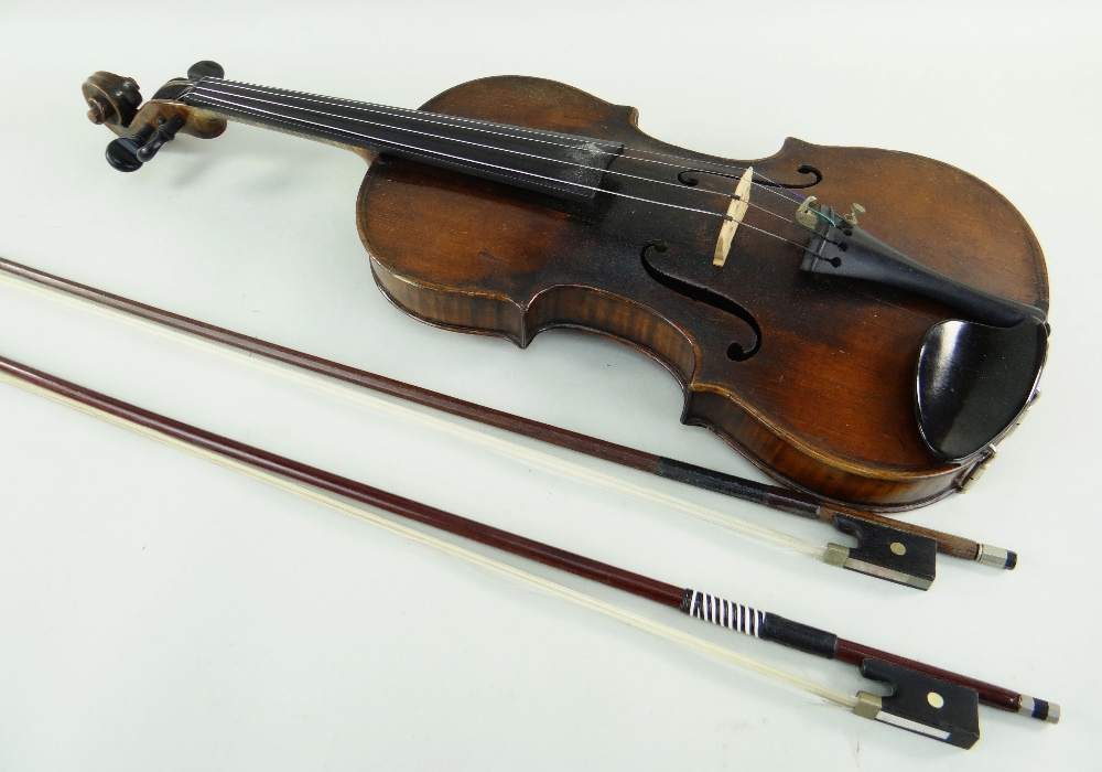 KLINGENTHAL SCHOOL VIOLIN, circa late 18th/early 19th Century, LOB 359mms, two-piece back of faint - Image 7 of 9
