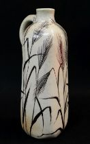 MARTIN BROTHERS STONEWARE FLASK, of square section with loop handle to shoulder, decorated all