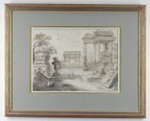 18TH CENTURY VENETIAN SCHOOL brown ink and grey wash on paper - a classical architectural