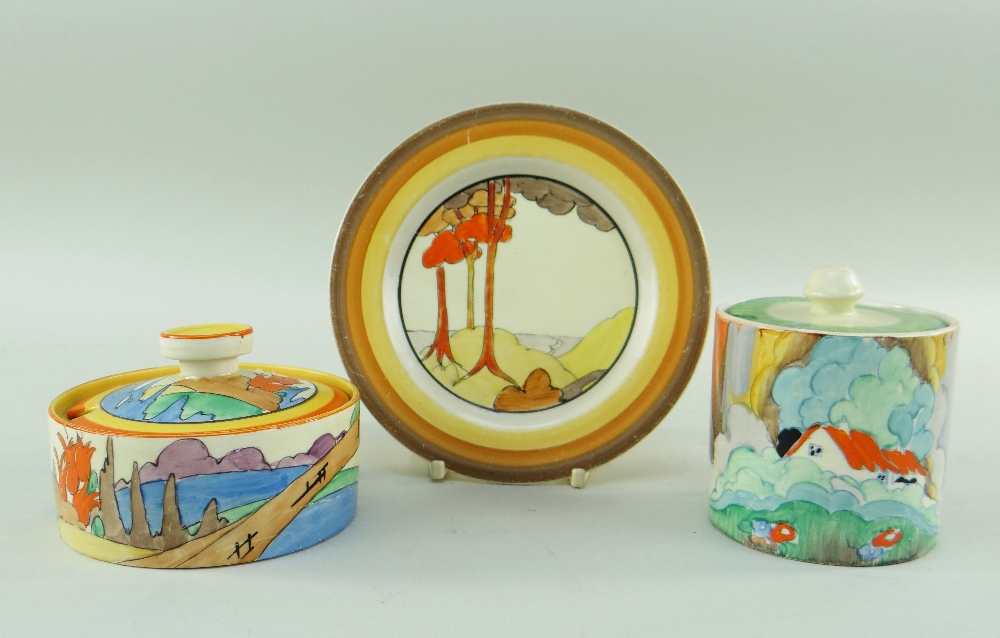 THREE CLARICE CLIFF ITEMS comprising 'Forest Glen' preserve jar & cover, 7.5cms high; 'Coral Firs' - Image 2 of 40