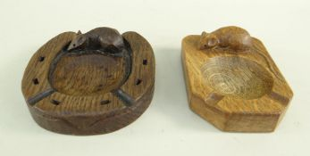 TWO ROBERT 'MOUSEMAN' THOMPSON OAK ASHTRAYS, one carved as a horseshoe, the other of canted