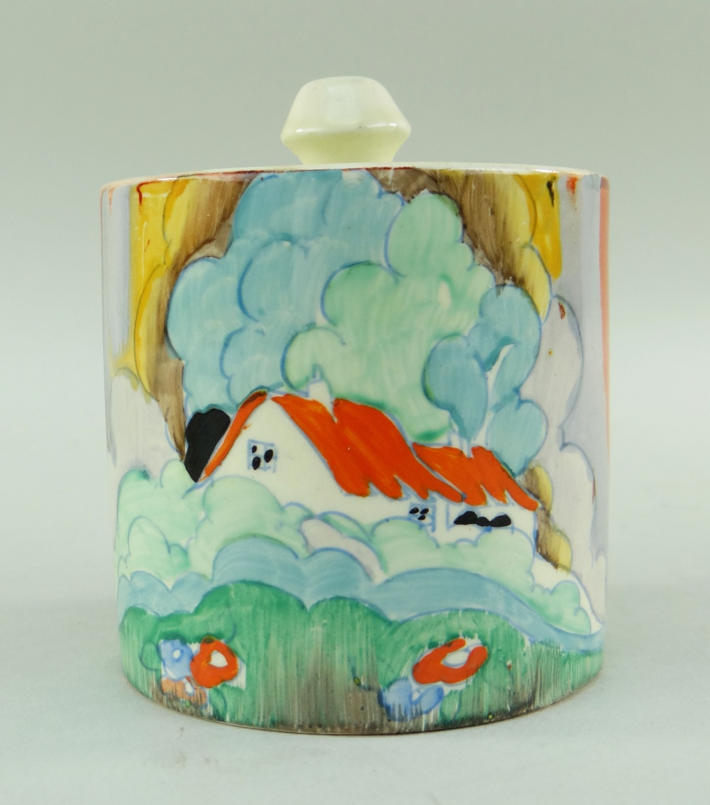 THREE CLARICE CLIFF ITEMS comprising 'Forest Glen' preserve jar & cover, 7.5cms high; 'Coral Firs' - Image 7 of 40