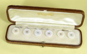 CASED SET OF SIX OPAL DRESS BUTTONS of circular shape in original vintage jewellery box marked '
