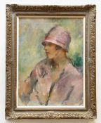 ARTHUR AMBROSE MCEVOY (British, 1887-1927) oil on canvas - bust length portrait of a lady in pink