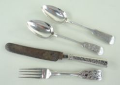 GROUP MID-19TH CENTURY RUSSIAN ENGRAVED SILVER FLATWARE, various makers and dates, including a