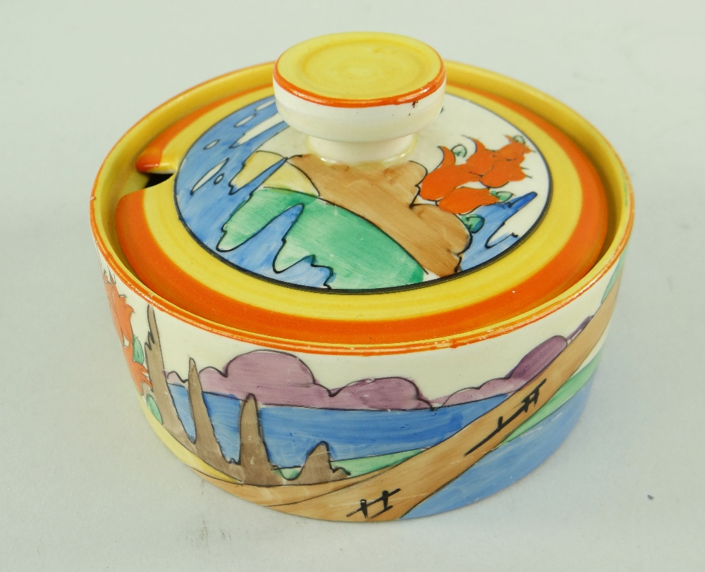 THREE CLARICE CLIFF ITEMS comprising 'Forest Glen' preserve jar & cover, 7.5cms high; 'Coral Firs' - Image 4 of 40