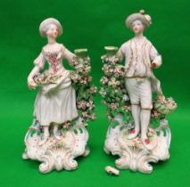 PAIR LATE 18TH CENTURY PORCELAIN CANDLESTICK FIGURES, probably Chelsea-Derby c. 1770, she holding