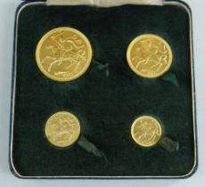 POBJOY MINT ISLE OF MAN 1973 GOLD FOUR COIN SOVEREIGN SET comprising £5 coin, £2 coin, sovereign and