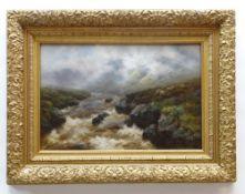 ARTHUR SYDNEY WATSON (British, 1881-1932) oil on canvas - misty Scottish riverscape with sheep on