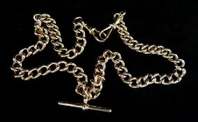 9CT GOLD ALBERT WATCH CHAIN, having curb links with 'T-bar', 45.5cms long, 58.6gms Provenance: