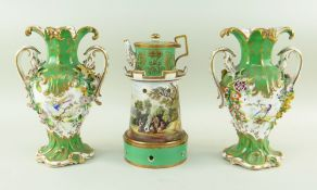 19TH CENTURY ENGLISH BONE CHINA VEILLEUSE & PAIR OF ROCOCO VASES, possibly Minton, teapot painted in