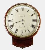 19TH CENTURY MAHOGANY & BRASS STRUNG DROP DIAL CLOCK, Wood, London, 30cms, signed and painted Roman,