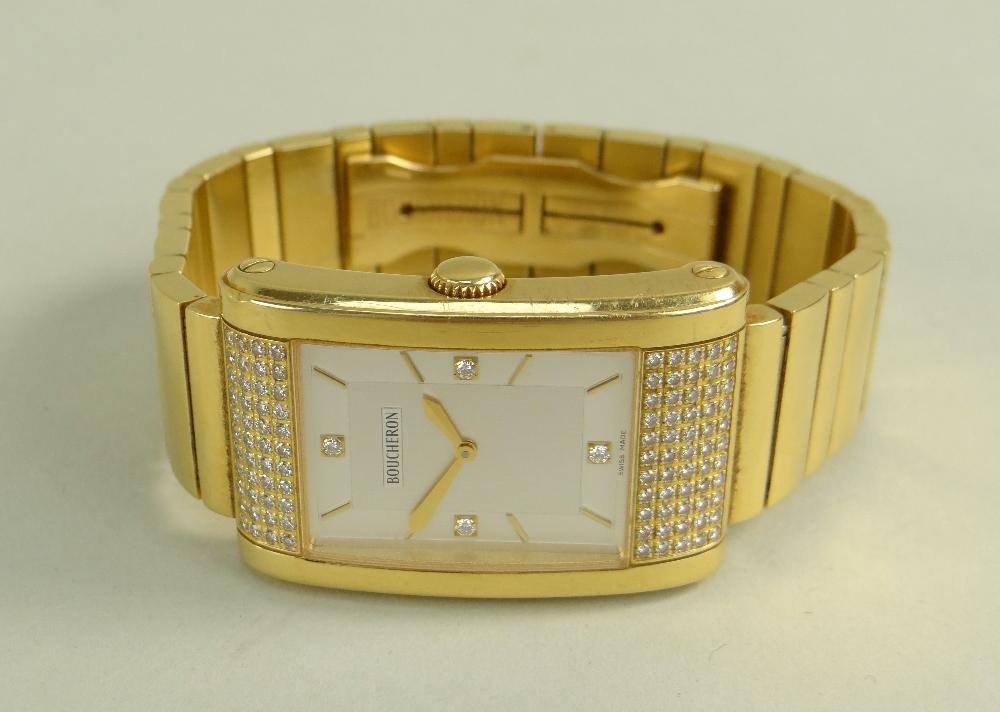 BOUCHERON 18K GOLD & DIAMOND GENTLEMAN'S 'REFLET' BRACELET WATCH, the signed, rectangular two-tone - Image 3 of 3