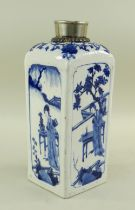 CHINESE BLUE & WHITE PORCELAIN SQUARE FLASK, 19th/20th Century, arched shoulders and countersunk