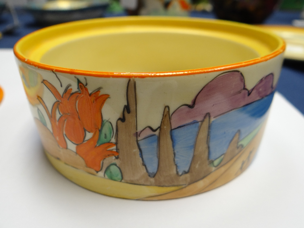 THREE CLARICE CLIFF ITEMS comprising 'Forest Glen' preserve jar & cover, 7.5cms high; 'Coral Firs' - Image 39 of 40