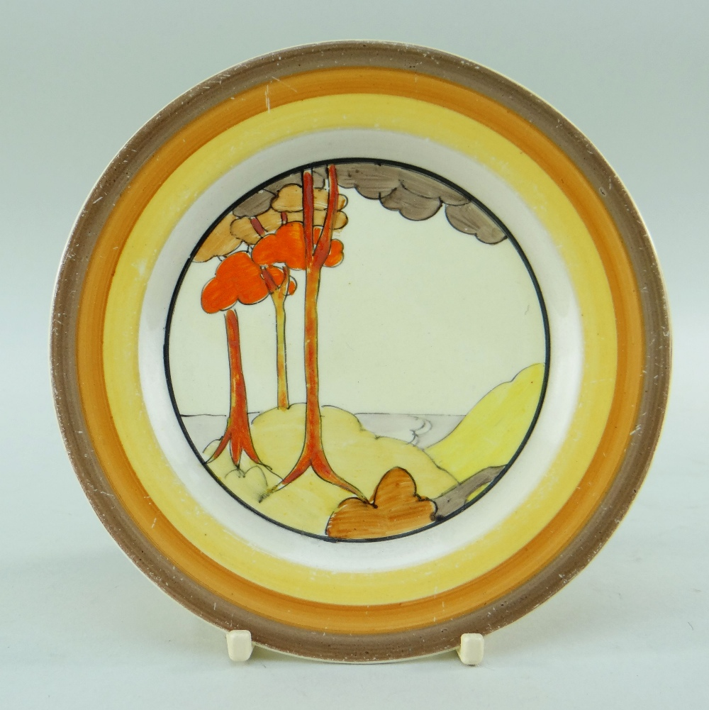 THREE CLARICE CLIFF ITEMS comprising 'Forest Glen' preserve jar & cover, 7.5cms high; 'Coral Firs' - Image 3 of 40