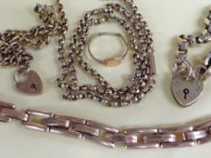 ASSORTED 9CT GOLD JEWELLERY comprising two 9ct bracelets with heart shaped padlocks, expanding